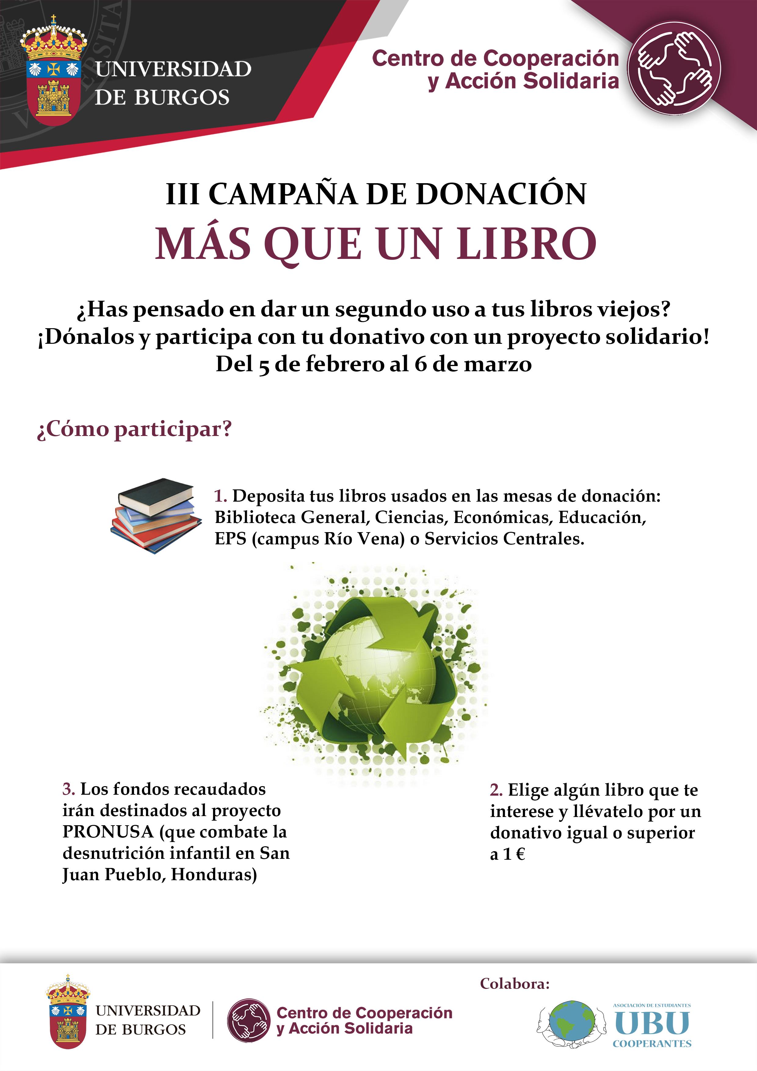 Cartel Campaña donación Más que un libro