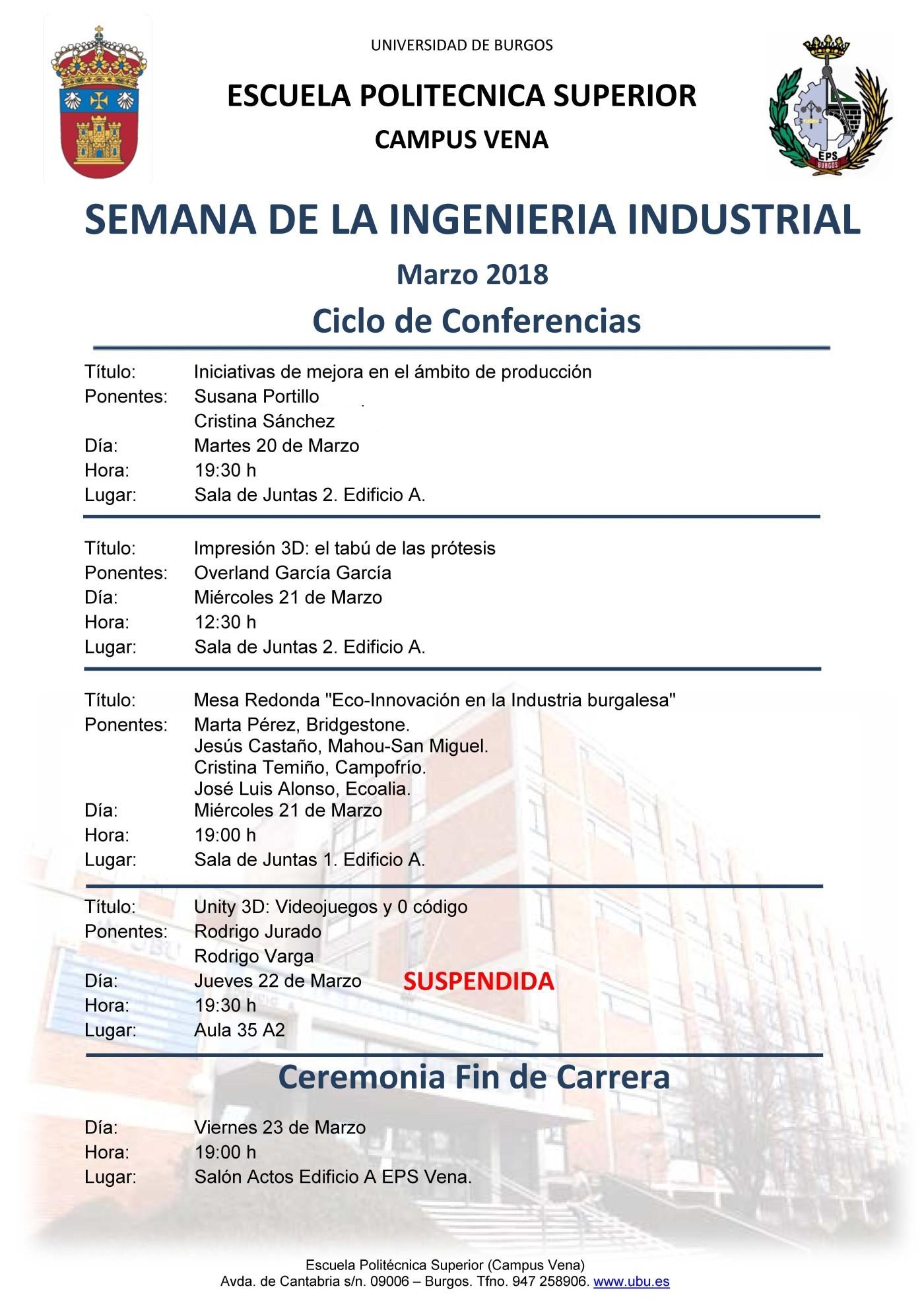 Semana de la Ingeniería Industrial. Marzo 2018   Universidad de Burgos