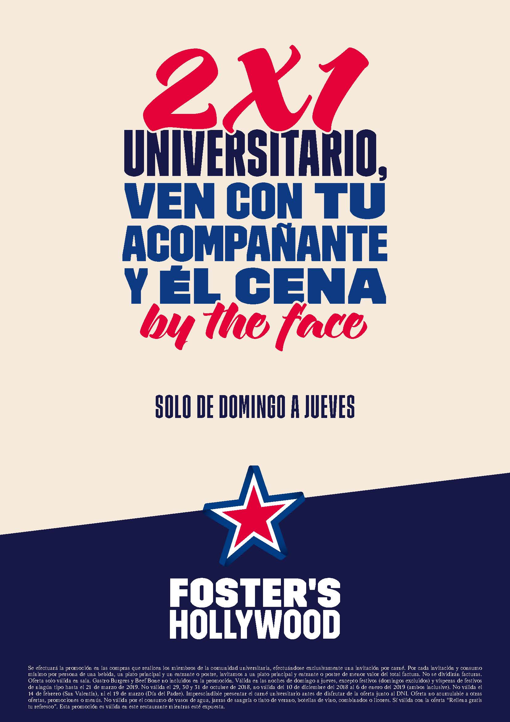 Oferta 2x1 Foster's Hollywood