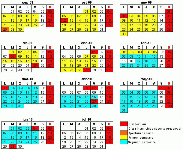Calendario Académico 2009-2010 para titulaciones ADAPTADAS al EEES