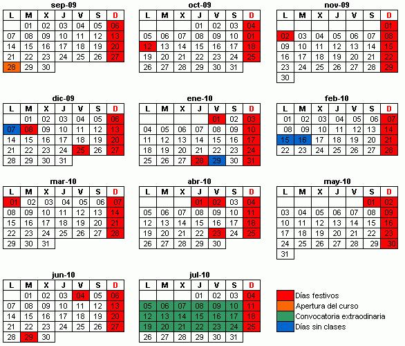 Calendario Académico 2009-2010 para titulaciones NO ADAPTADAS al EEES
