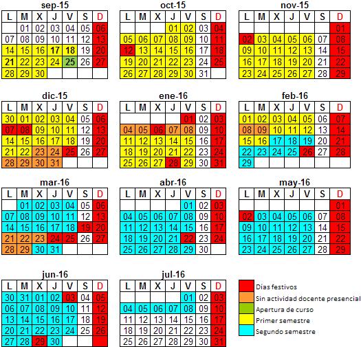Calendario Universitario.Calendario Academico Del Curso 2015 2016 Universidad De Burgos