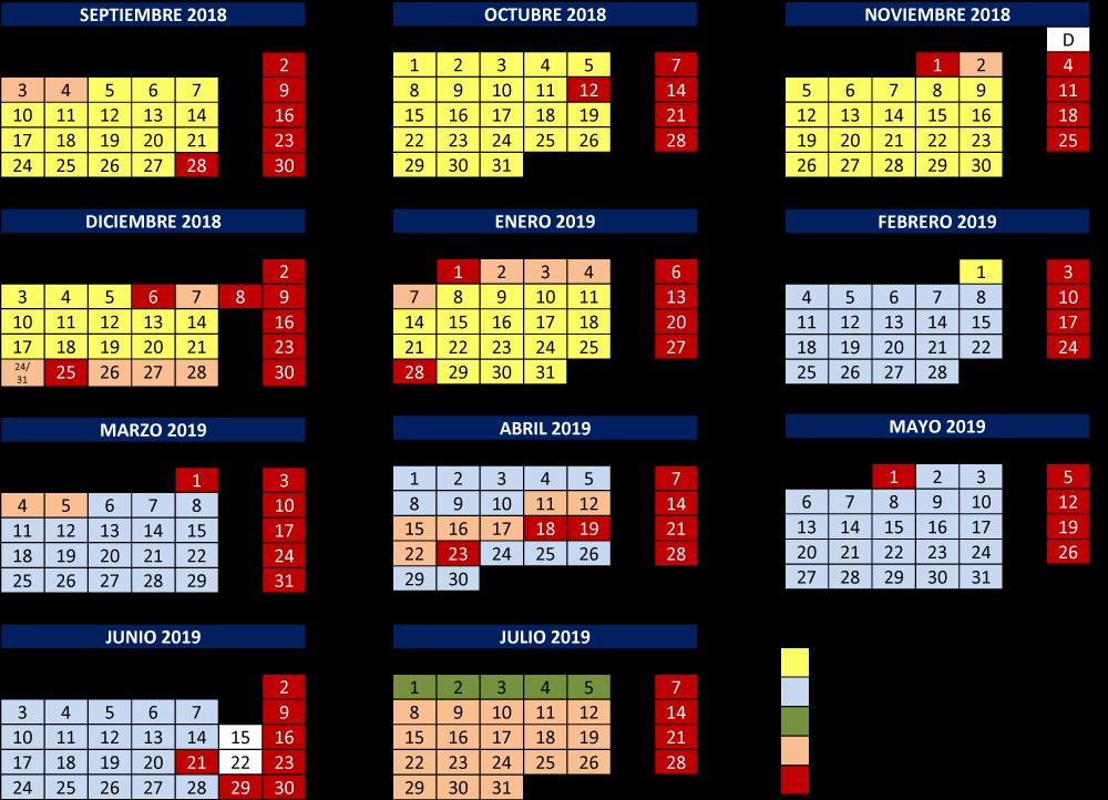 Calendario De Tesis.Calendario Academico Del Curso 2018 2019 Universidad De Burgos