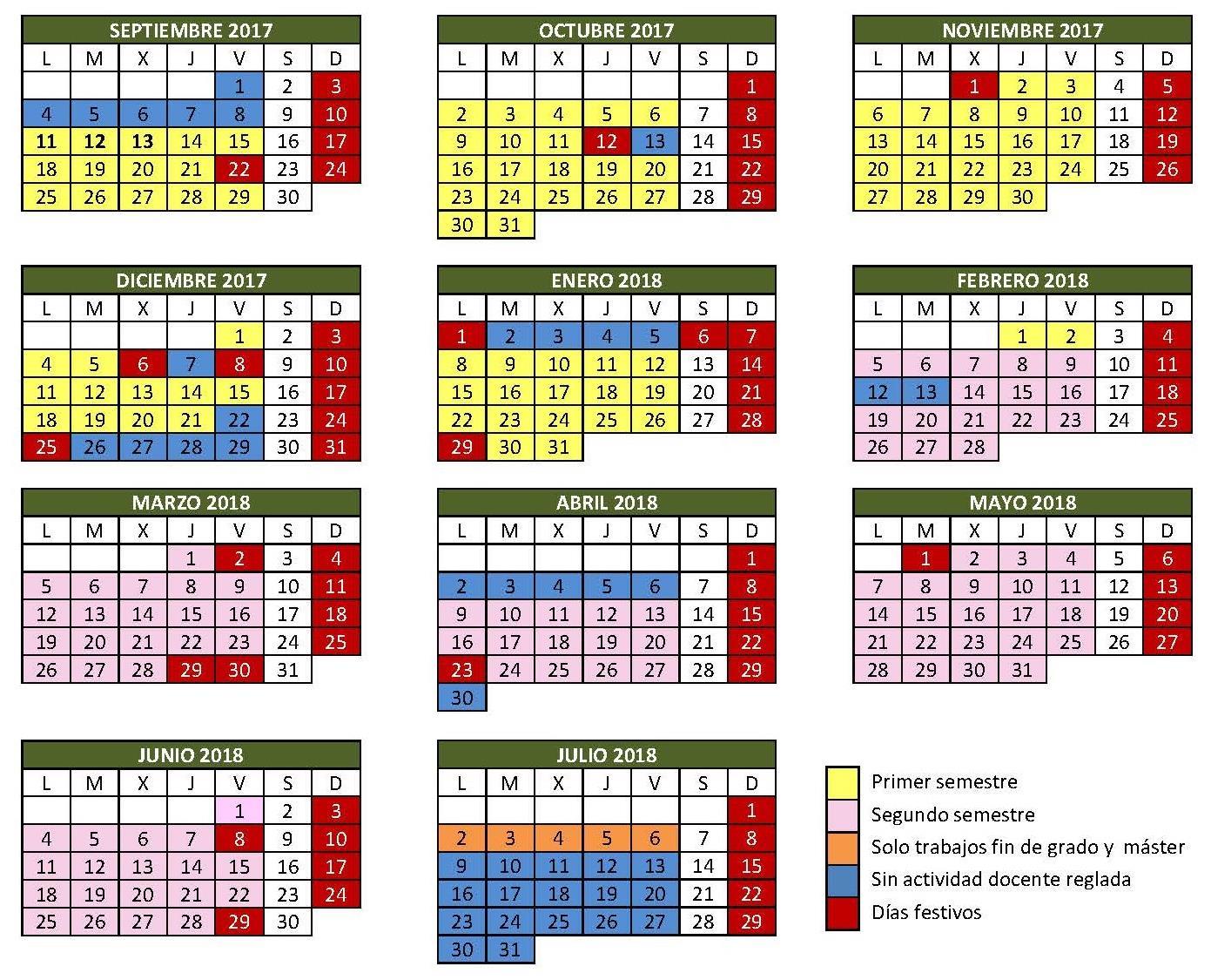 Calendario Universitario.Calendario Academico Del Curso 2017 2018 Universidad De Burgos