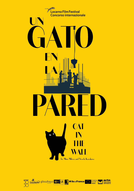 cartel un gato en la pared
