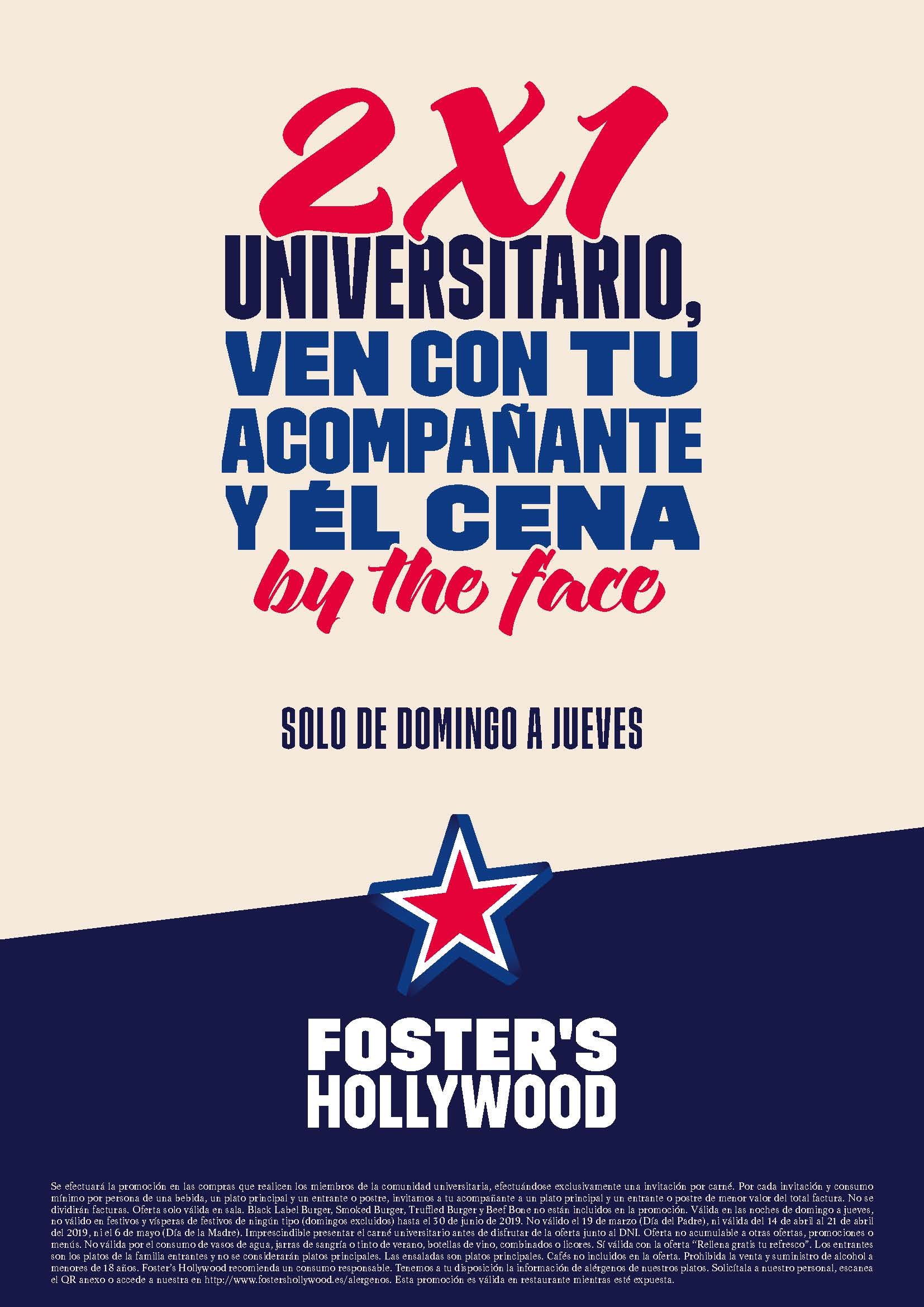 Oferta Foster's Hollywood 2x1