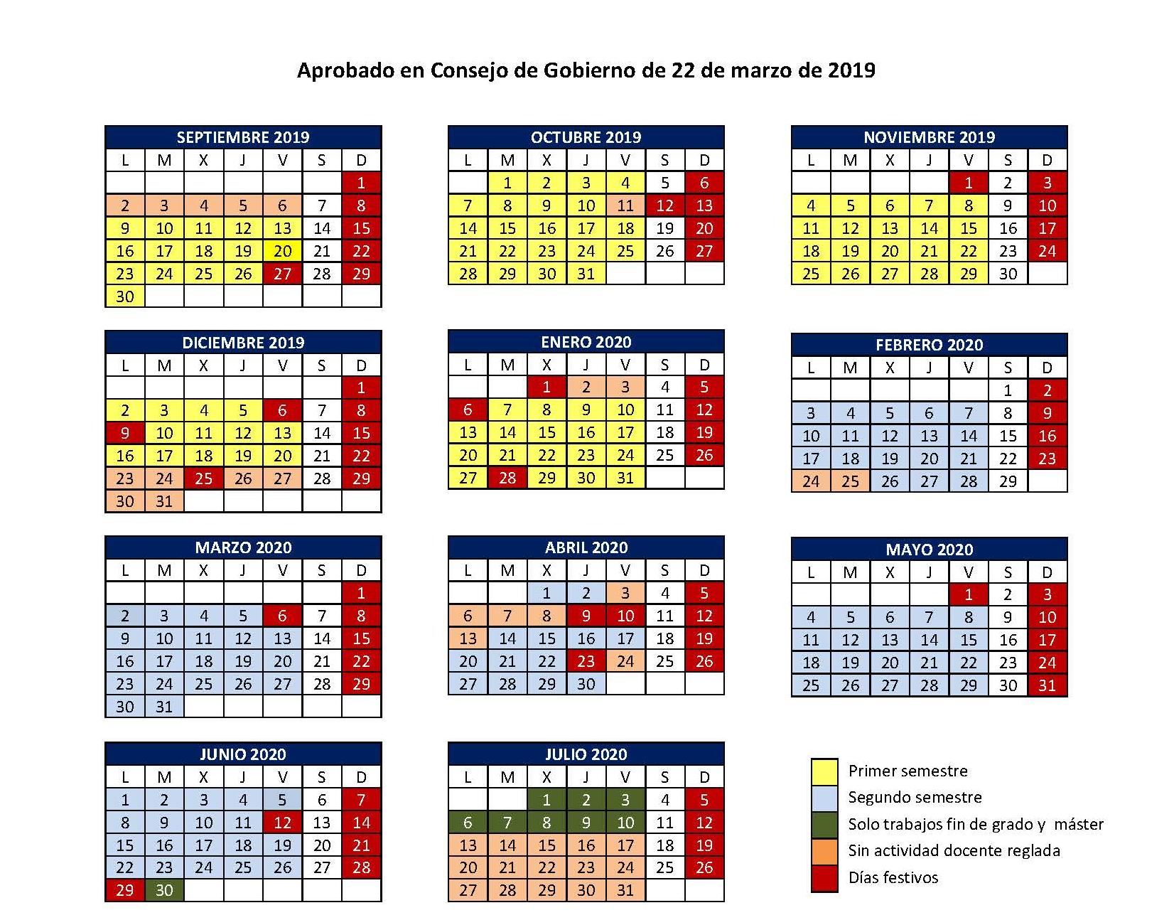 Calendario Del Ano 2020 En Espanol.Calendario Academico Del Curso 2019 2020 Universidad De Burgos