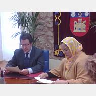 Despacho del Rector . Firma del Convenio de Cooperación con la Ministra del Sahara