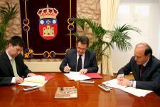 20140404Firma del acuerdo entre la Universidad de Burgos, el ITCL y ADETEL