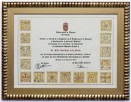 Diploma realizado para el Doctorado Honoris Causa in memoriam del Dr. Félix Rodíguez de la Fuente