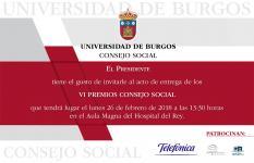 Invitación a la entrega de los VI Premios Consejo Social