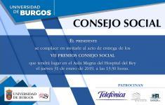 Invitación a la entrega de los VII Premios Consejo Social
